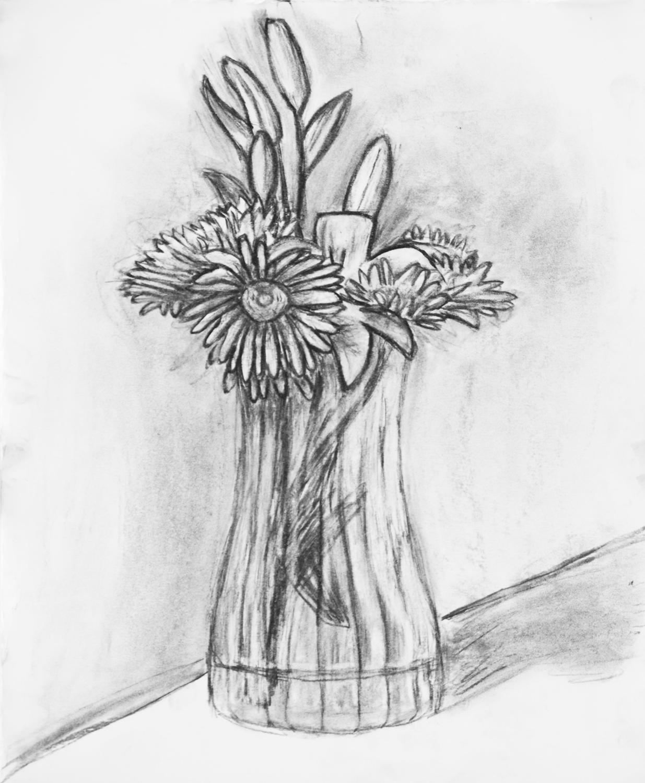 Цветы в вазе картинки нарисованные 1